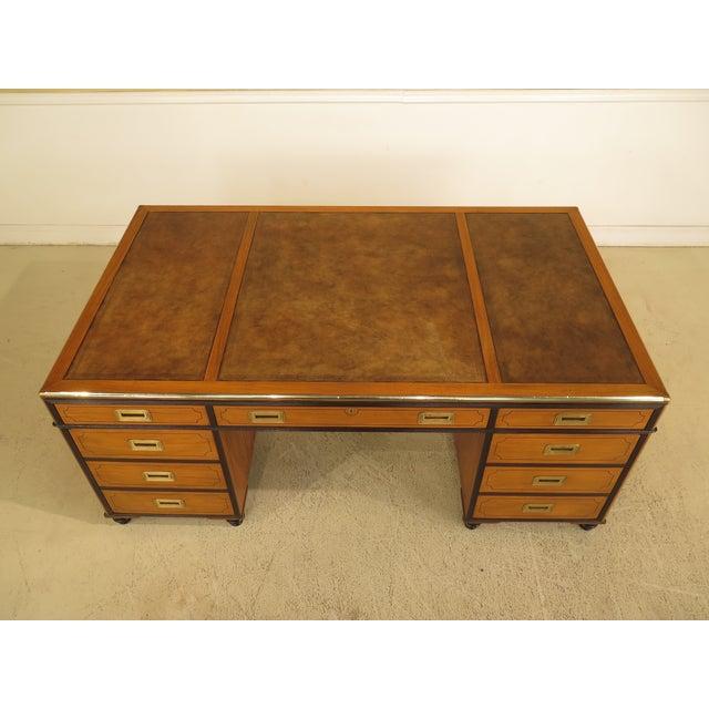 Campaign 1970s Vintage Baker Satinwood Large Leather Top Executive Partner Desk For Sale - Image 3 of 14