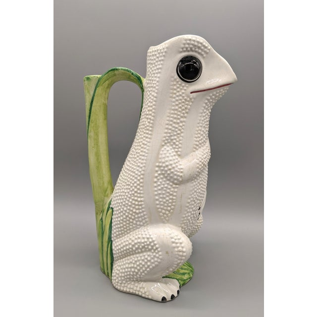 Mid-Century Italian White Hobnail Frog Pitcher For Sale - Image 12 of 13
