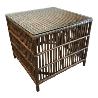 "Rattan ""Donatello"" Side Table With Glass Top For Sale"