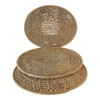 Set of (6) Oval Woven Abaca Placemats For Sale
