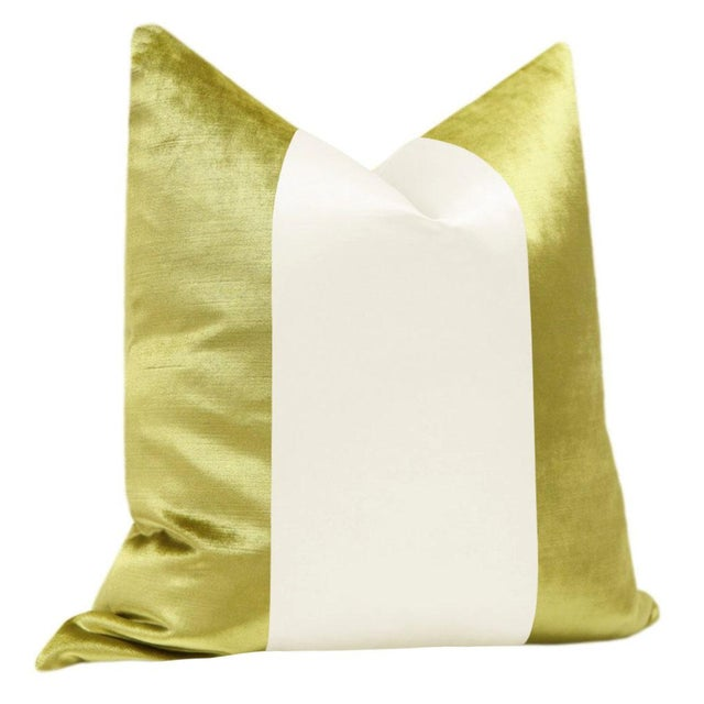 "Contemporary 22"" Chartreuse Velvet & Alabaster Silk Panel Pillows - a Pair For Sale - Image 3 of 5"