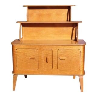 Vintage Mid Century Modern Thaden Jordan Birch Bentwood Sideboard Hutch Credenza For Sale