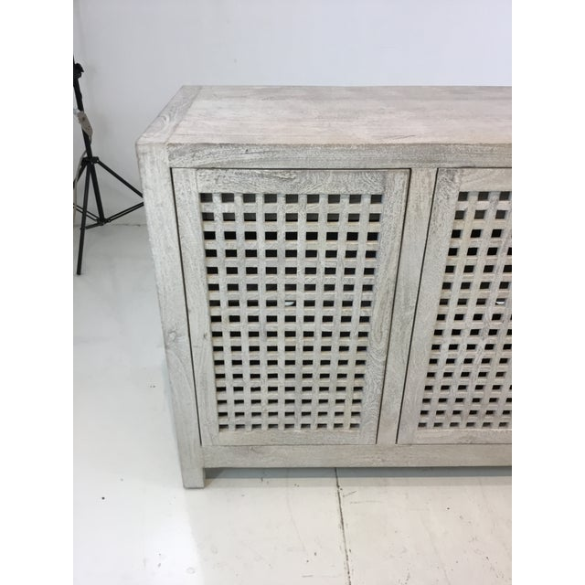 Modern Studio a Modern White Washed Driftwood Lattice Credenza For Sale - Image 3 of 6