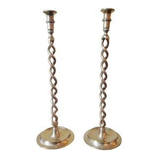 Early 20th Century Antique Solid Brass Barley Twist Candlesticks - a Pair For Sale