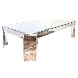 Vintage Karl Springer Lucite and Glass Rectangular Cocktail Table For Sale