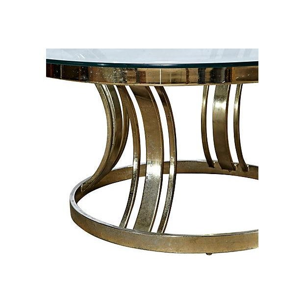 Round Brass & Glass Top Side Table - Image 3 of 4