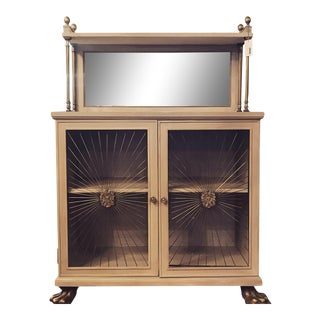 Antique Hollywood Regency 30s Painted Wood Brass Cabinet For Sale