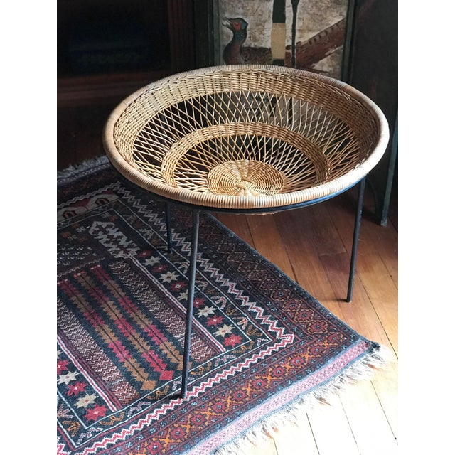 Metal 1950s Mid Century Modern Rattan Wicker and Wrought Iron Catch All Standing Basket For Sale - Image 7 of 7