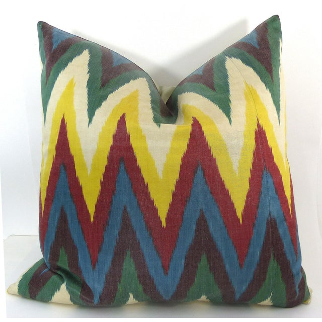 Colorful Woven Silk Ikat Pillow - Image 3 of 6