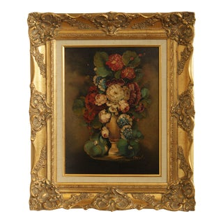 Artist Signed Gilt Frame Oil Painting on Canvas Flowers in Vase For Sale