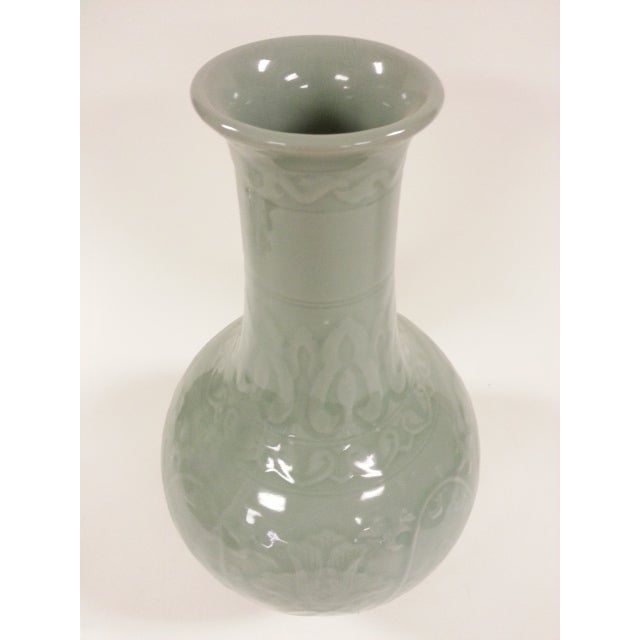 Floral Celadon Vases - A Pair - Image 6 of 6