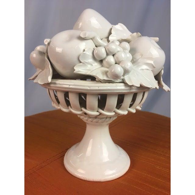 White 1970s Vintage Ceramic Fruit Basket For Sale - Image 8 of 8