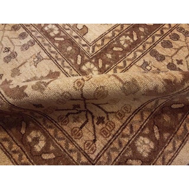 "1990s Kafkaz Peshawar Casey Ivory & Tan Wool Rug - 10'2"" x 13'6"" For Sale - Image 5 of 7"