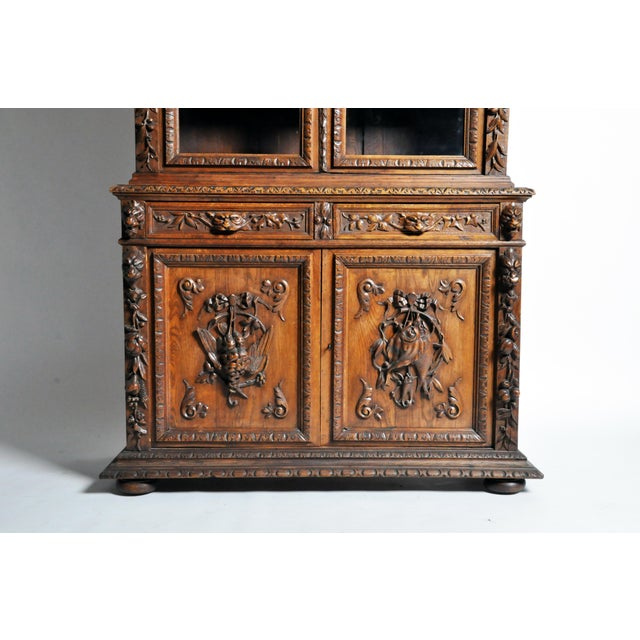 "Glass French ""Black Forest"" Style Hunting Oak Buffet Cabinet For Sale - Image 7 of 11"