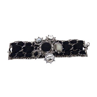 Chanel Black Wool and Gunmetal Limited Edition Charm Bracelet For Sale