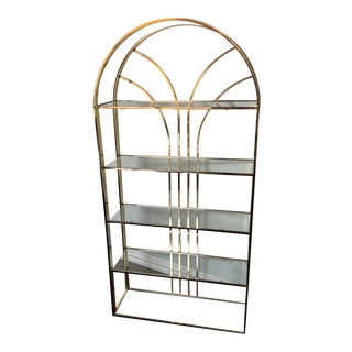 Vintage Brass and Glass Arched Etagere For Sale