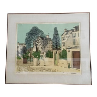 Streets of Paris - Signed Denis Paul Noyer Framed Lithograph For Sale