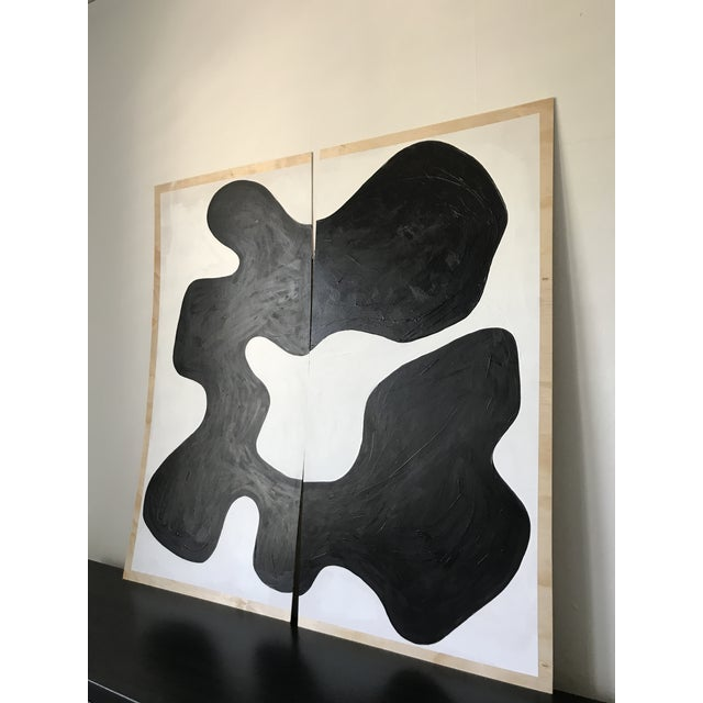 Abstract Magnolia Monochrome Diptych Oversized Paintings - 2 Pc. For Sale - Image 4 of 13