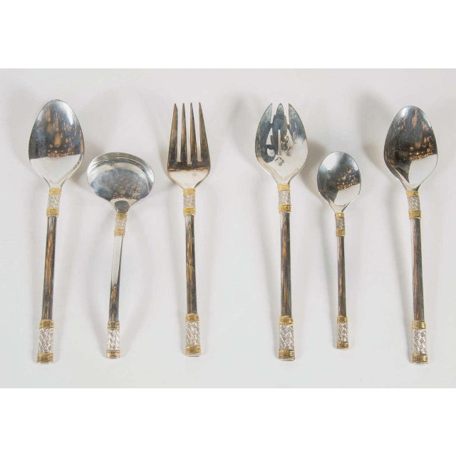 Art Deco Elegant Mid-Century Modernist Set of Sterling & Gold Flatware by Wallace Service For Sale - Image 3 of 10