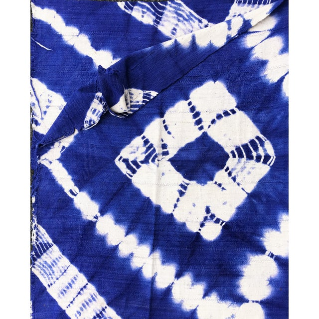 "African Bogolan Textile Mud Cloth Blue & White 40"" by 62 For Sale In New York - Image 6 of 8"