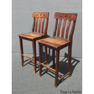 Vintage Spanish Style Solid Wood Barstools W Decorative Nails Clavos - a Pair Preview