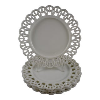 "19th Century Eapg Lace Edge Milk Glass 9"" Plates - Set of 4"