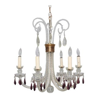 1940s Cut-Glass French Chandelier For Sale