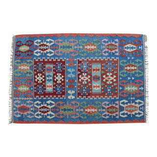 4x6 Rug Hand Woven Turkish Oushak Kilim Flat Weave Wool Rug Actual - 3′8″ × 5′6″ For Sale