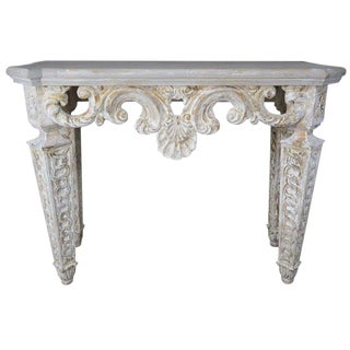 Italian Carved Painted Console With Shell Detail For Sale