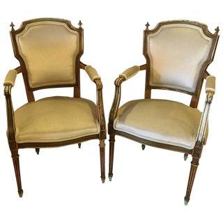 Maison Jansen Distressed Louis XVI Style Armchairs - A Pair For Sale