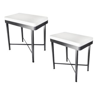 Metal Side Tables With Porcelain Tops For Sale