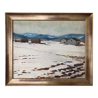 Vintage Swedish Winter Landscape Oil Painting For Sale