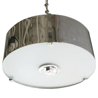 Chrome Drum Chandelier with Frosted Glass Shade Preview