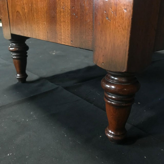 Wood British Mahogany Library Steps With Burgundy Tooled Leather Treads For Sale - Image 7 of 12
