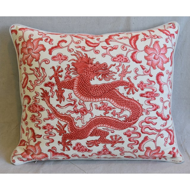Custom tailored pillow in unused Scalamandré chinoiserie hand-printed cotton and linen fabric called Chi'En Dragon...