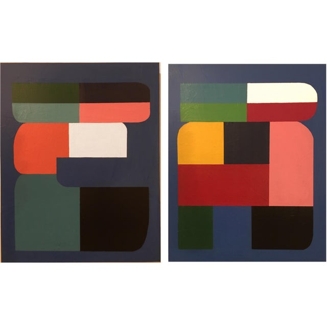 2010s Brooks Burns Original Abstract Geometric Paintings - A Pair For Sale - Image 5 of 5