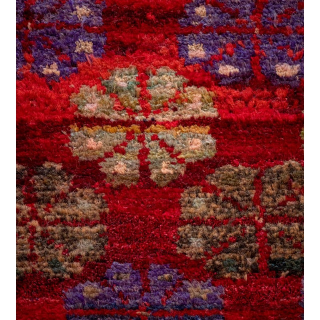 Mid 20th Century Mid 20th Century Vintage Floral Tomato-Red Handwoven Wool Turkish Rug For Sale - Image 5 of 9