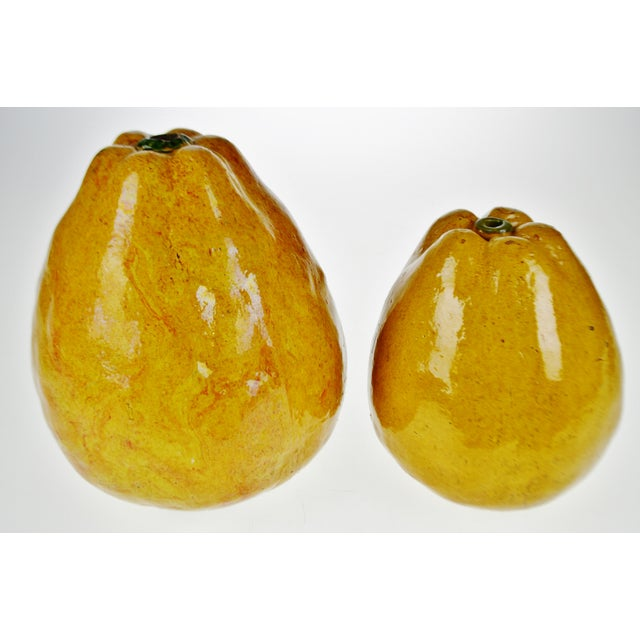Vintage Art Pottery Ceramic Asian Pears - A Pair For Sale - Image 4 of 12