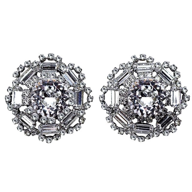 1960s Crystal Cocktail Clip-Back Earrings For Sale