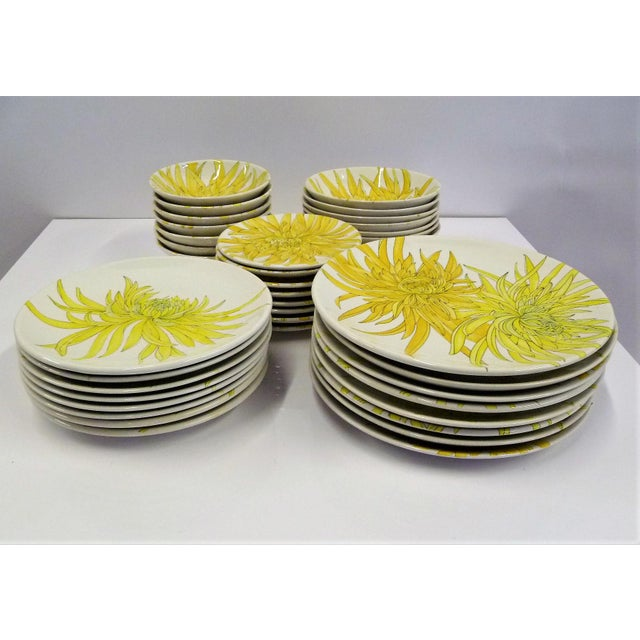 Mid Century Modern Ernestine Ceramics Dinnerware SeT, Chrysantemum Pattern Salerno, Italy - Set of 39 For Sale - Image 12 of 13