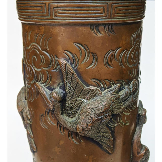 Metal Early 20th Century Asian Antique Chinese Elephant Footed & Heron Bird Bronze Vases - a Pair For Sale - Image 7 of 13