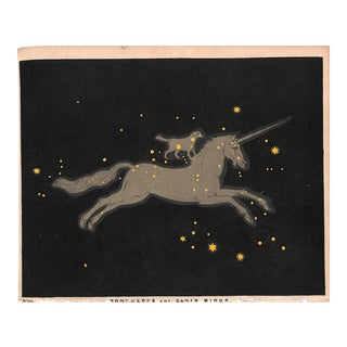 Astronomy, Constellation, Monoceros Canis Minor, Antique Print 1845, Matted For Sale
