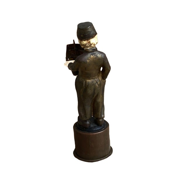 Figurative Late 19th Century Bronze Sculpture of Dutch Boy With Sailboat For Sale - Image 3 of 4