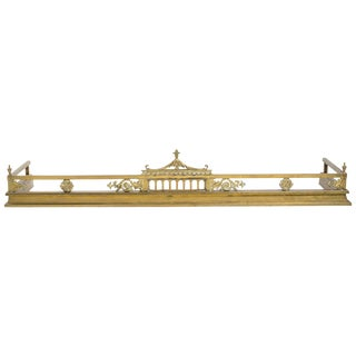 English Brass Pagoda Fireplace Fender For Sale