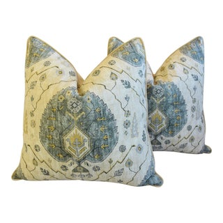 "Moroccan Marrakesh Linen Feather/Down Pillows 26"" Square - Pair For Sale"