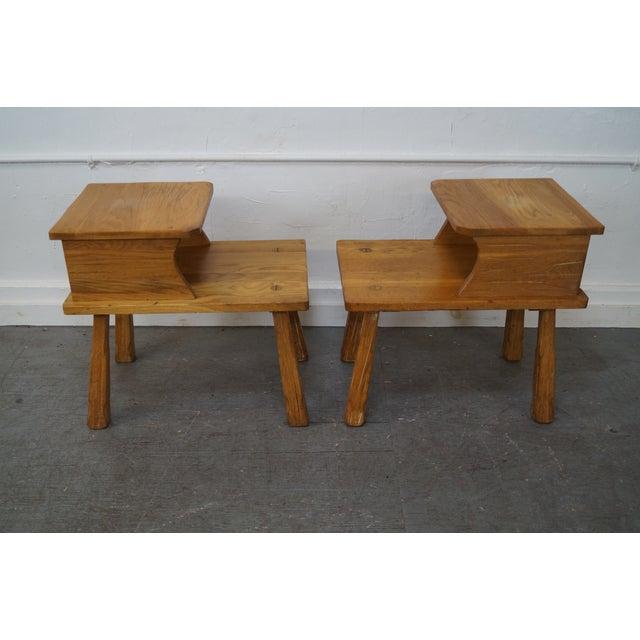Brandt Ranch Oak Rustic Step End Tables - Pair - Image 3 of 10