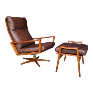 1960's Vintage Arne Wahl Iversen for Komfort Denmark Teak & Leather Lounge Chair Set- 2 Pieces For Sale