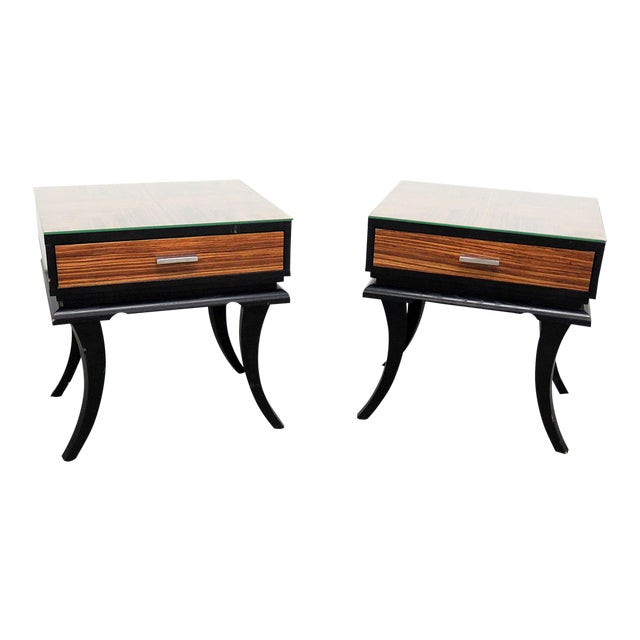 Astonishing Mid Century Modern Glass Top End Tables A Pair Download Free Architecture Designs Grimeyleaguecom