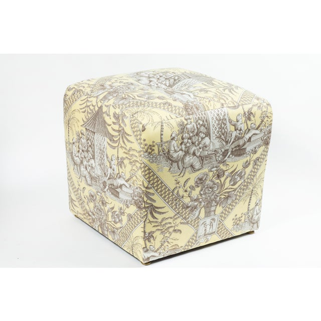 0f Chinoiserie Toile Ottomans - a Pair For Sale In Los Angeles - Image 6 of 10