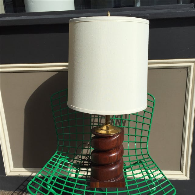 Spiral Carved Wood Table Lamp - Image 2 of 7